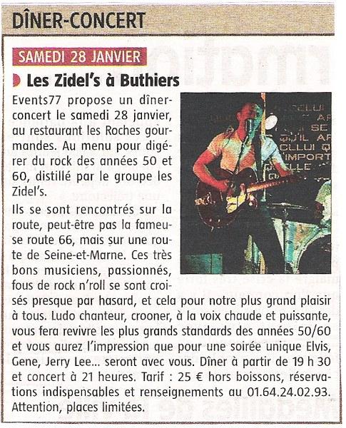 28-01-2012 : revue de persse L'Eclaireur du Gâtinais - Les Zydel's à Buthiers